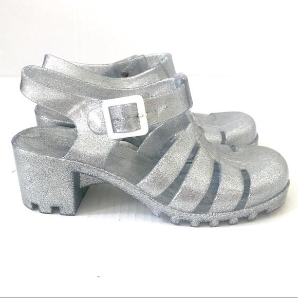 Rouge silver glitter jelly platform heels 90s Sz 7.  M 5ab9a27ca44dbe4e0b6fd221
